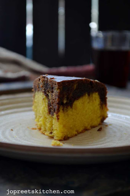 Mango Chocolate Marble Cake (Eggless & Butterless)