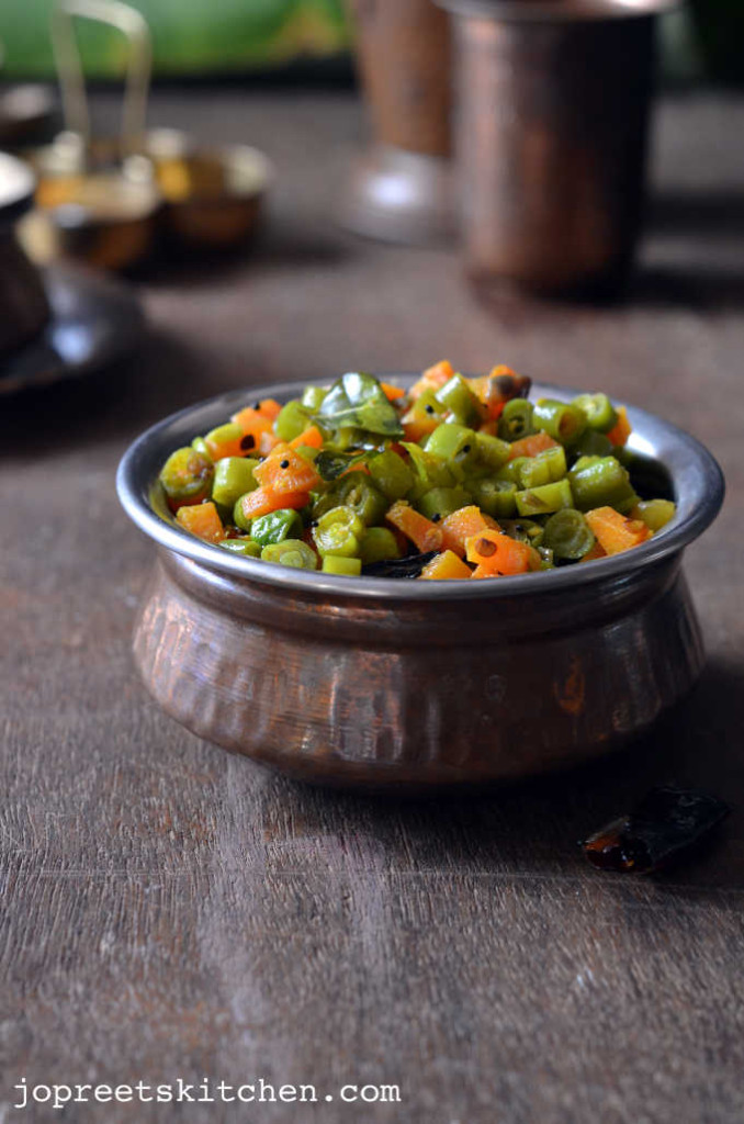 Peas, Carrot & Beans Poriyal - Simple Lunch Recipes