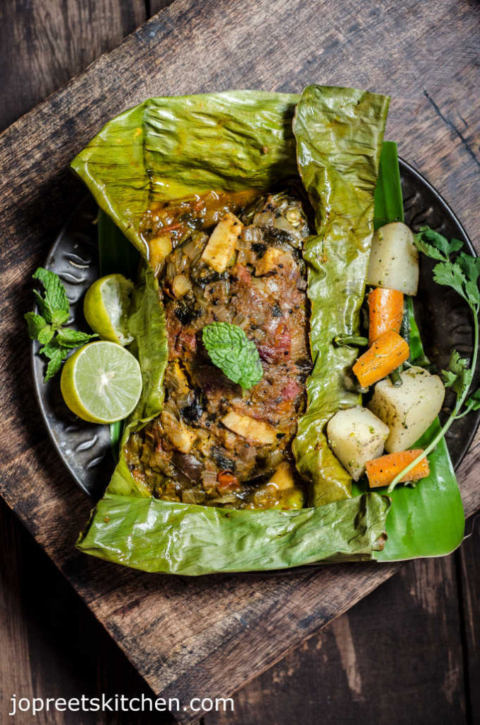Baked Whole Fish Masala In Banana Leaf Indian Style