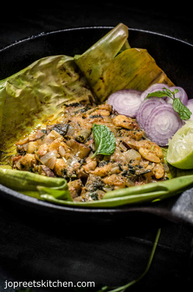 Prawn Masala in Banana Leaf