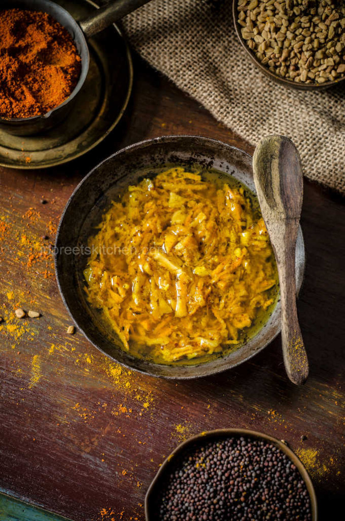 Fresh Turmeric & Ginger Pickle / Manjal Inji Oorugai