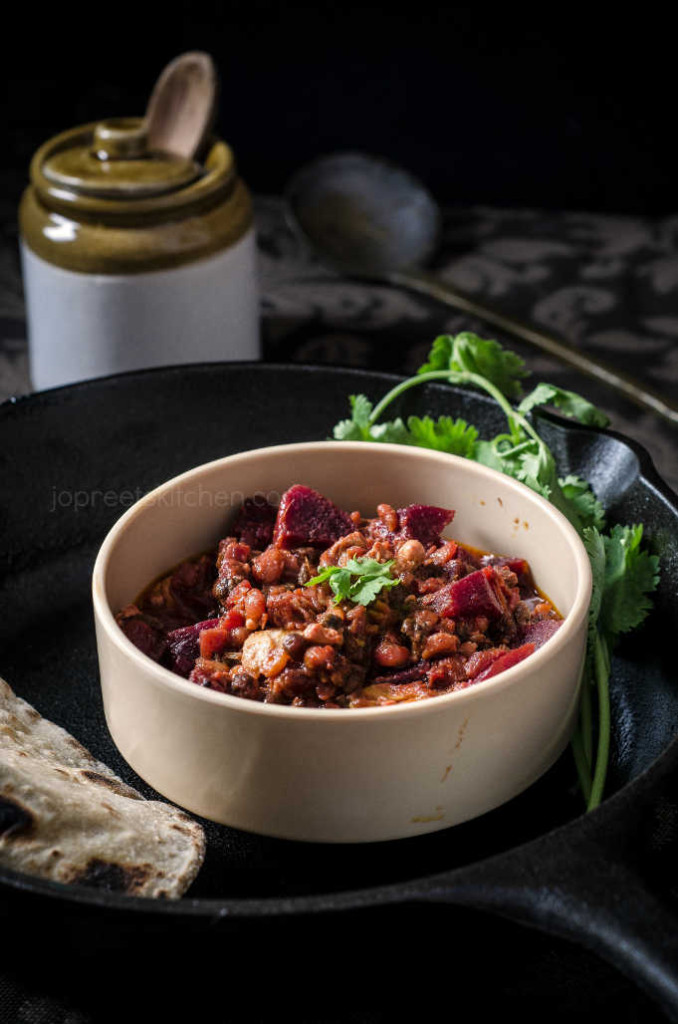 Beetroot, Moong Sprouts & Egg Curry